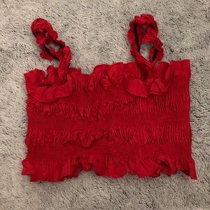 cute red ruffle crop top